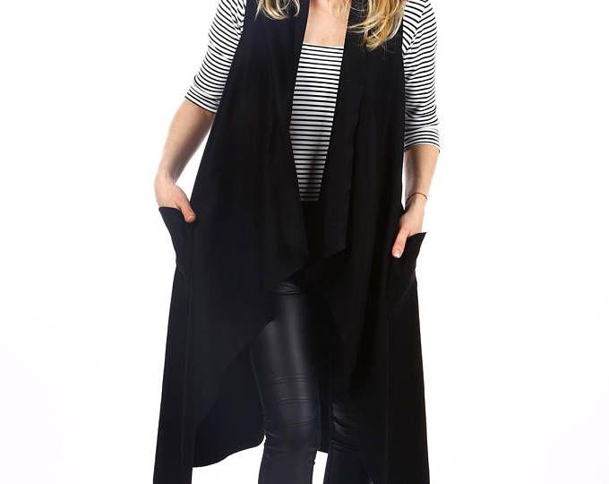 black long vest/futuristic vest/ 3G58b4E3fG
