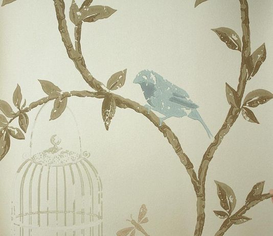 Wallpaper With Birds birdcage walk wallpaper trailing branches with birds in pale blue