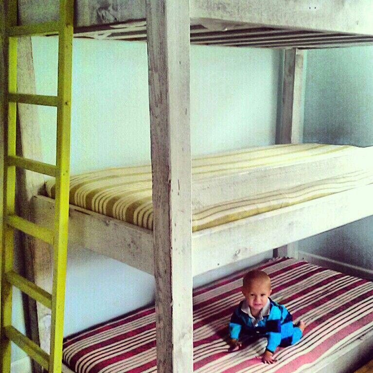 Best 3 Level Bunk Bed Custom Diy Distressed Rustic Painted 400 x 300