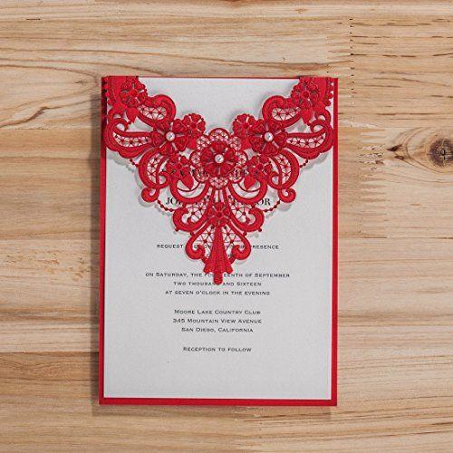 Wishmade 100x red laser cut wedding invitation cards kits with wishmade 100x red laser cut wedding invitation cards kits with pearls gilding cardstock for bridal shower engagement birthday baby shower partyset stopboris Gallery