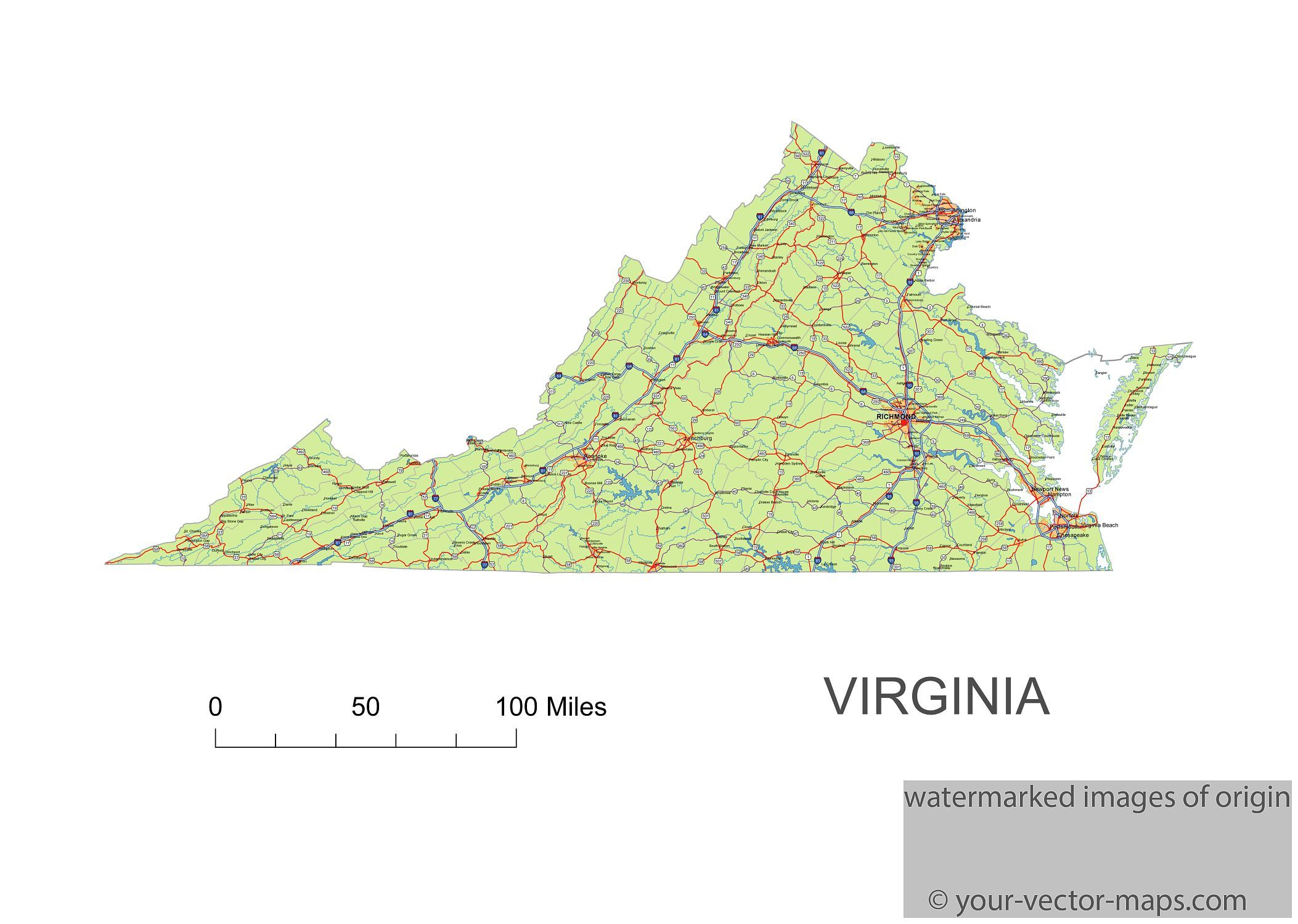 Virginia state route network map. Virginia highways map. Cities of ...