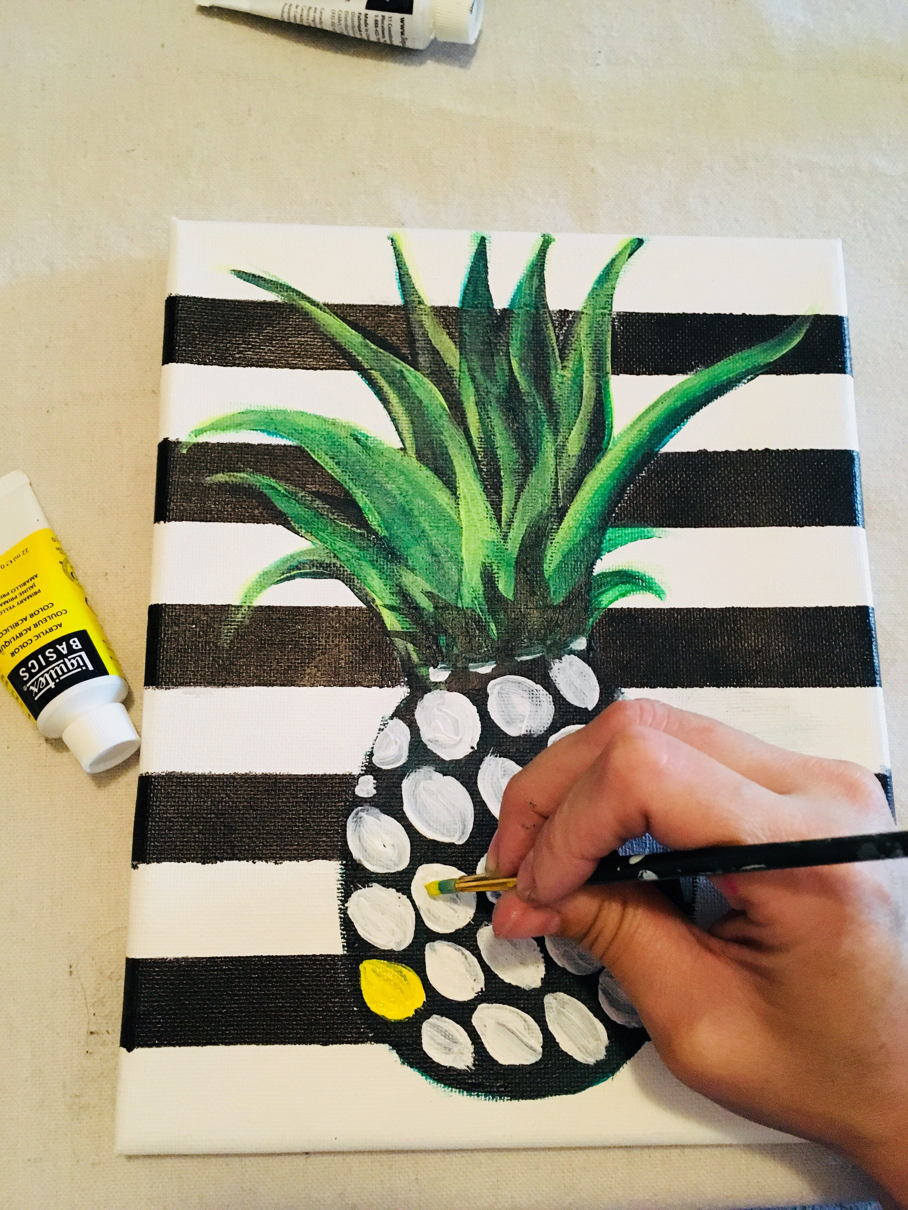 Pineapple Painting On Canvas  Step By Step Painting