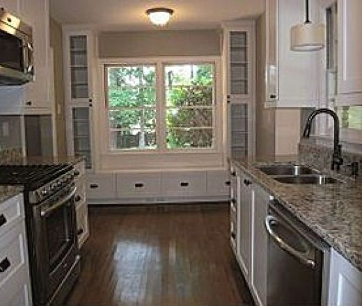 Traditional Galley Style White Kitchen, White Cabinets