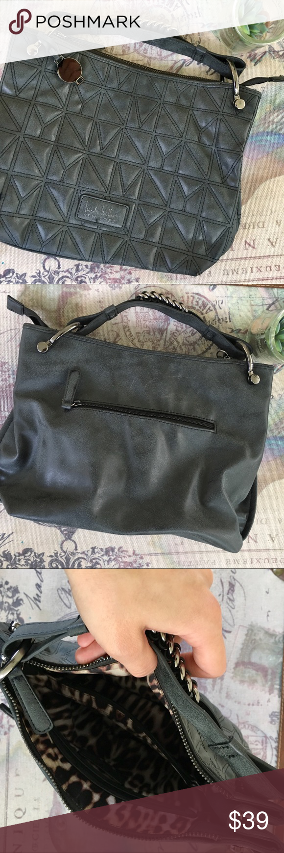 4d925107ac53 Quilted Nicole Miller Purse in Charcoal In good preloved condition Quilted  charcoal faux leather material with silver hardware Shoulder strap has been  ...