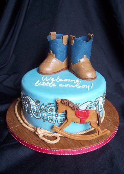 This Adorable Boot Cake Is The Perfect Addition To Your Cowboy Baby Shower!  Http: