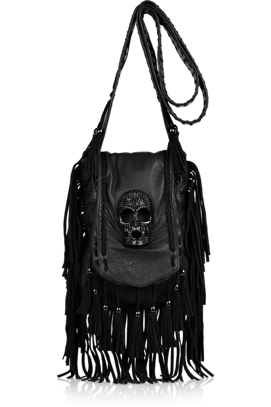 9a1db7b294a9 Black leather Adjustable buckle-fastening shoulder strap Beaded suede  fringing and trims