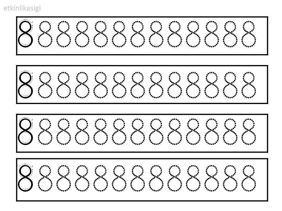 8 Rakami Cizgi Calismasi Matematik Egitim Okul