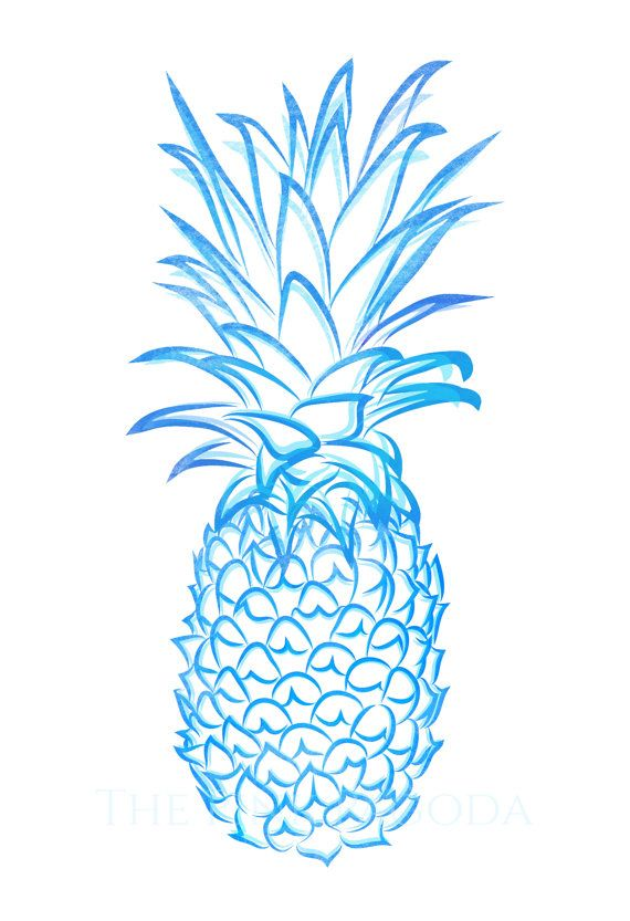 Living room print option 1 blue pineapple giclee by - Ananas dessin ...