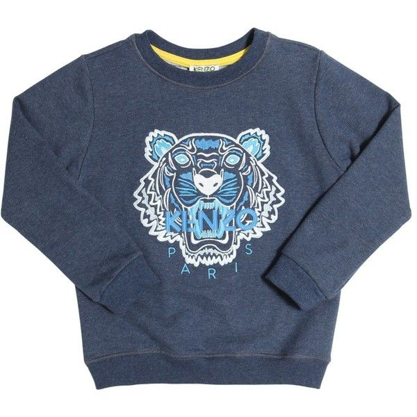 81915a08 Kenzo Kids Kids-girls Tiger Embroidered Cotton Sweatshirt (€75) ❤ liked on  Polyvore featuring blue