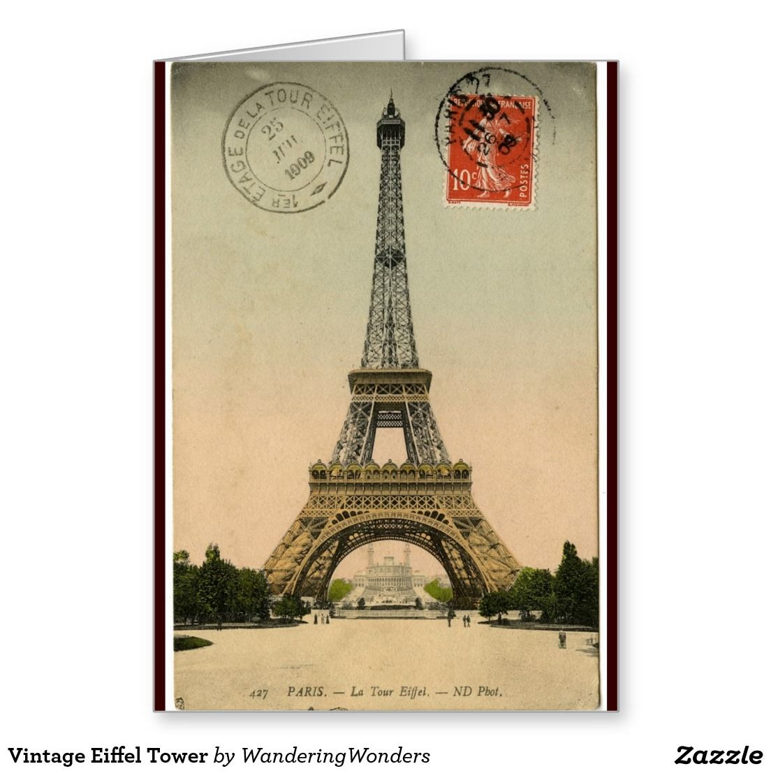 Vintage Eiffel Tower Greeting Card | Any purpose,get well, Thinking ...