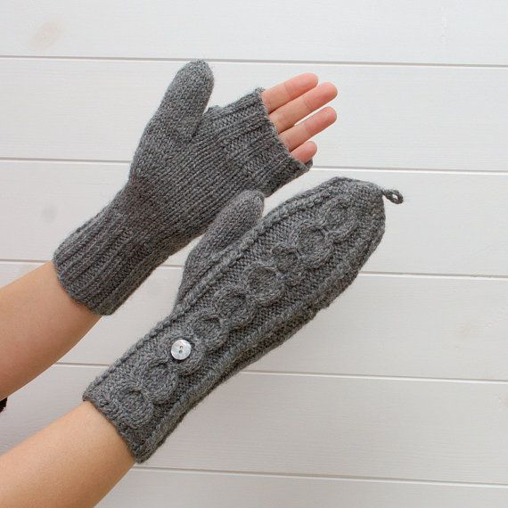 Convertible mittens Natural Wool Hand Knit Accessories - 2in1 ...