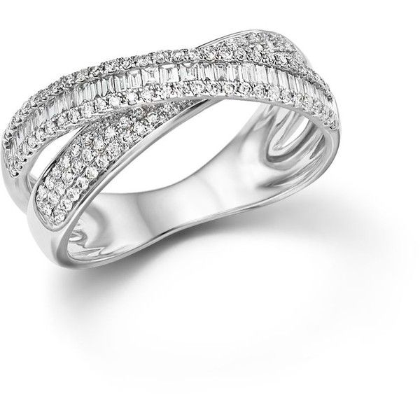 Diamond Round And Baguette Crossover Ring In 14k White Gold 65 Ct 2 445 Liked On Polyvore Featuring Jewelry Crossover Ring White Gold Exclusive Jewelry