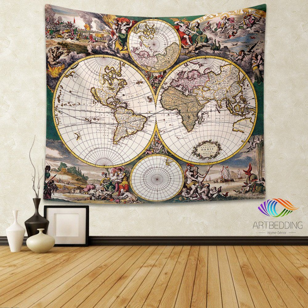 Old world map wall tapestry historical world map wall hanging old world map wall tapestry historical world map wall hanging antique old map wall gumiabroncs Images
