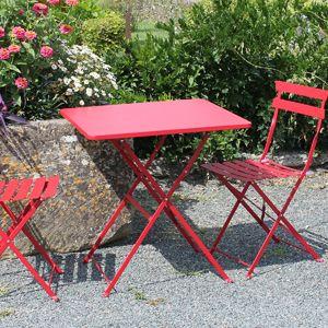 Salon de jardin table et 2 chaises pliantes en acier Pop ...