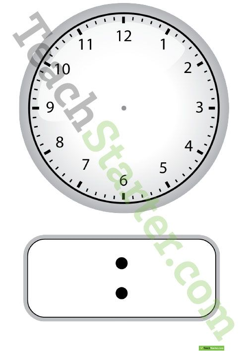 Digital and Analogue Clock Template Teaching Resource Pinterest