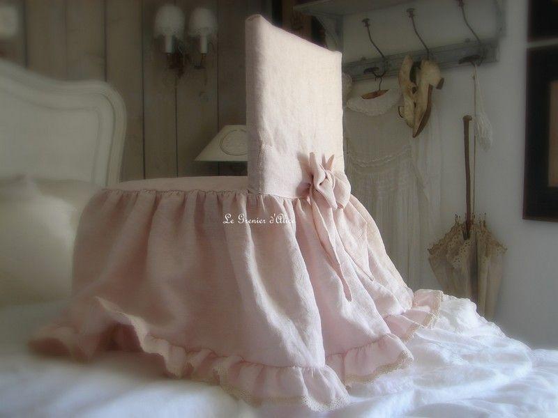 Dessus de chaise style charme housse de chaise romantique et shabby chic av - Deco de charme en ligne ...