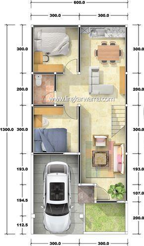 Denah rumah dua lantai dengan luas lahan 78m2 Luas