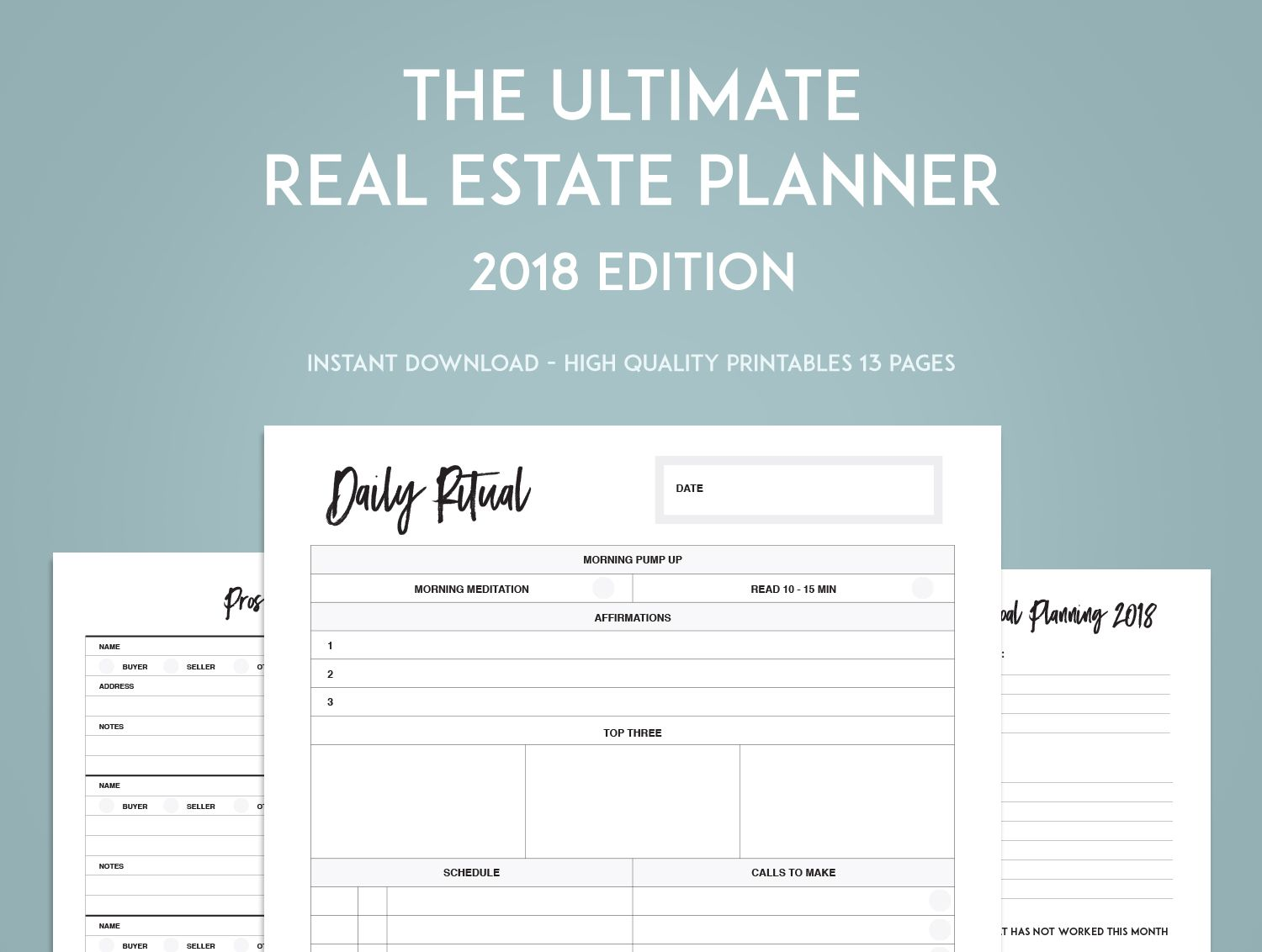 The Ultimate Real Estate Goal Planner Sweet Paper Trail Goal Setting Printable Daily Planner Template Goals Planner