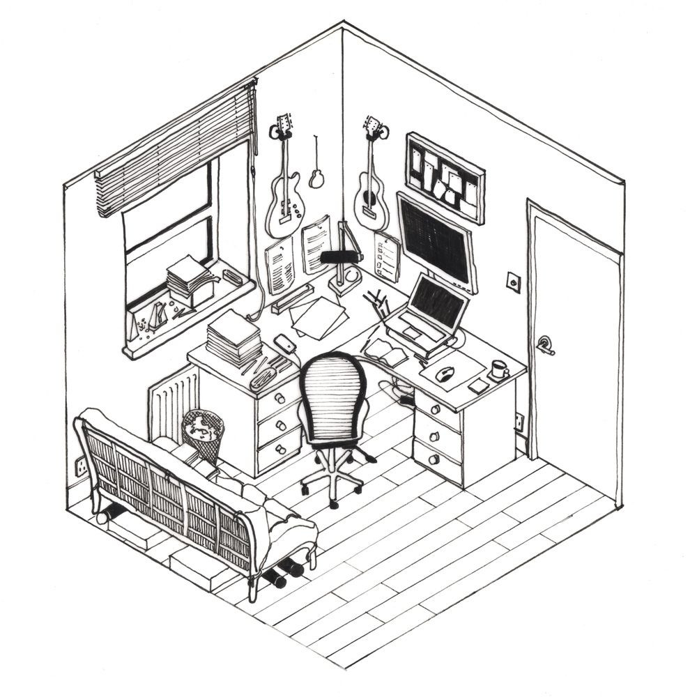 Gallery of 42 Sketches, Drawings and Diagrams of Desks and
