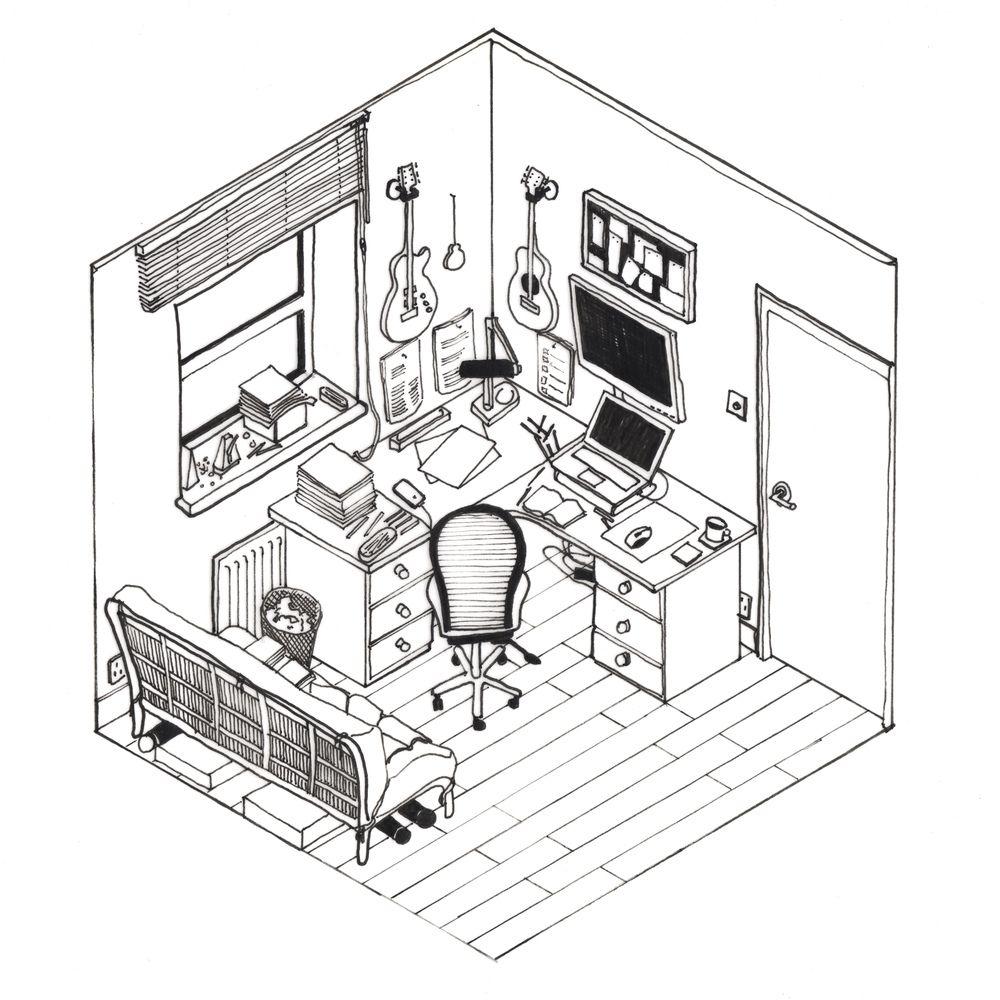 Galería de 42 croquis, dibujos y diagramas de espacios de trabajo de ...