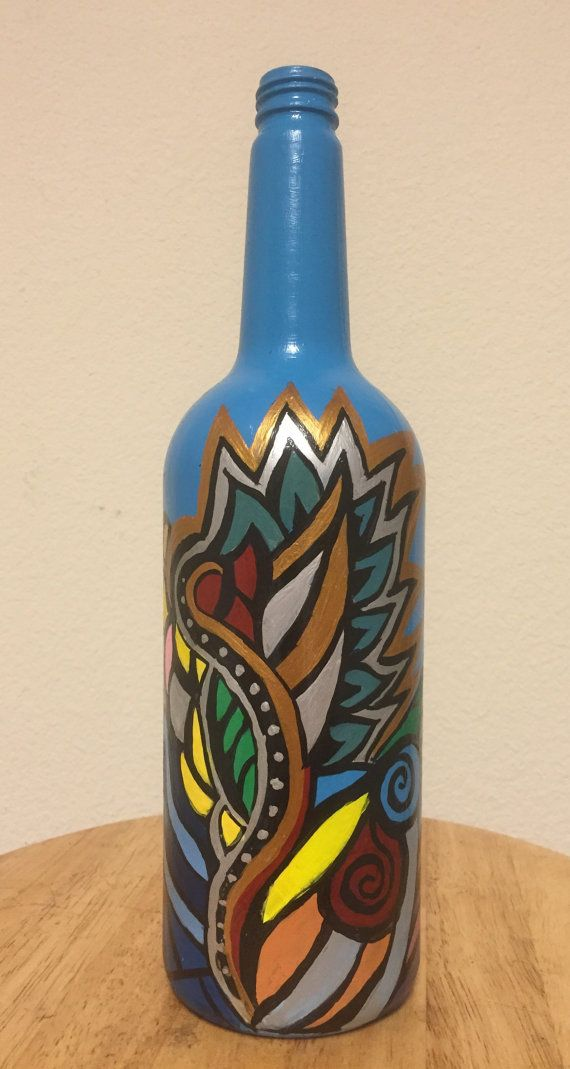 Decorated Glass Bottles Hand Painted Wine Bottle  Bottles  Pinterest  Painted Wine