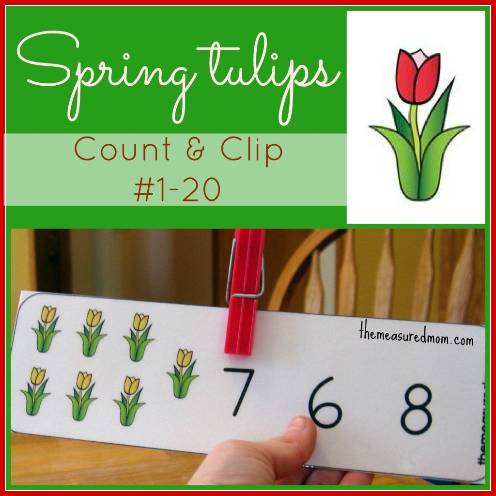 Printable Counting Activity For Preschoolers Spring Tulips Count Amp Clip Cards