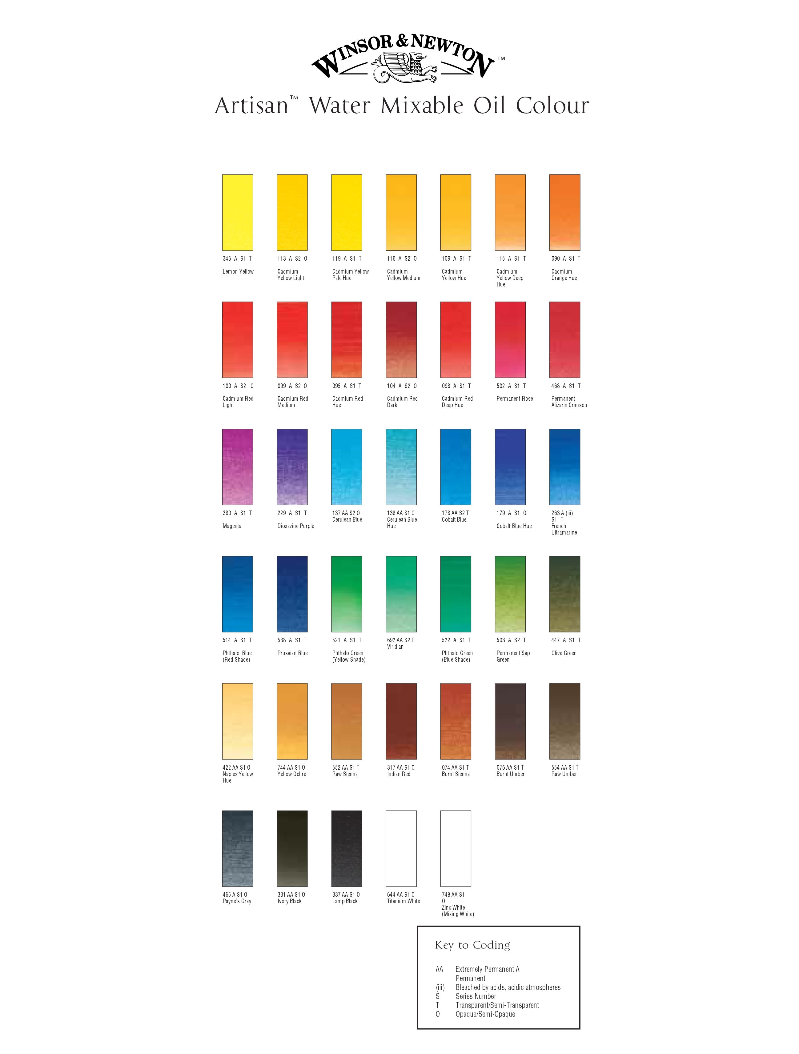 Pin By Ally On Paints Paint Color Chart Color Chart Winsor Newton