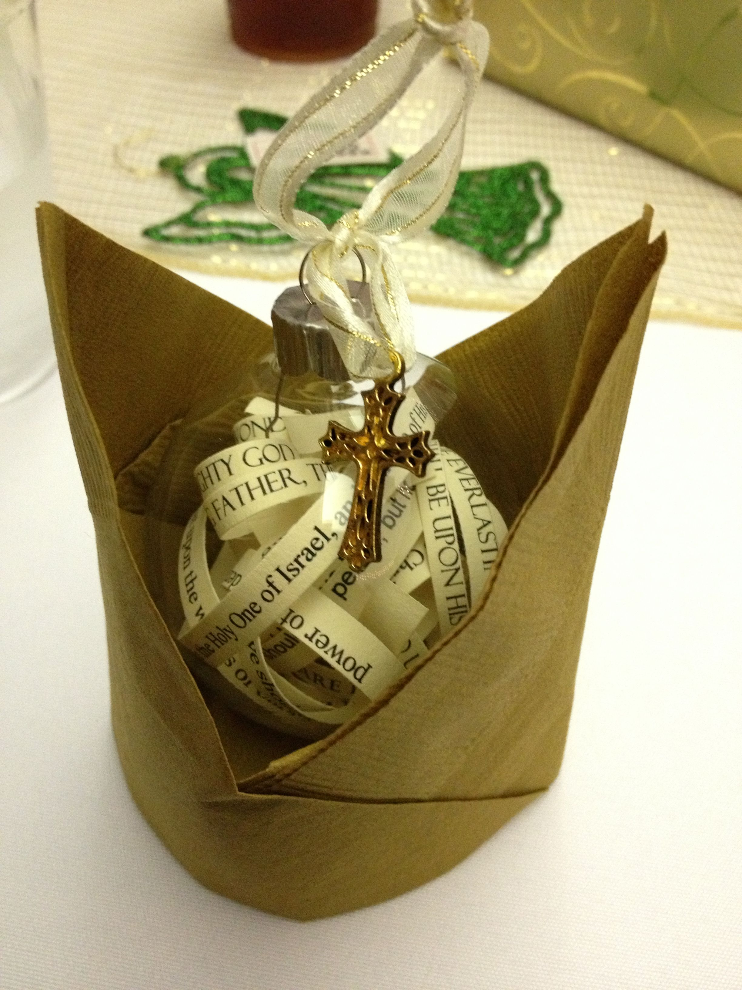Easy homemade christmas ornament with scripture verses