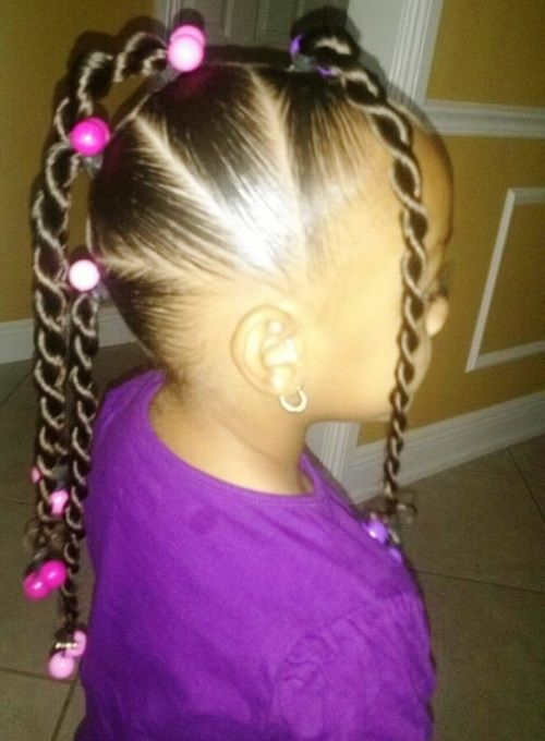 Little Girl Braided Ponytails With Beads Hair
