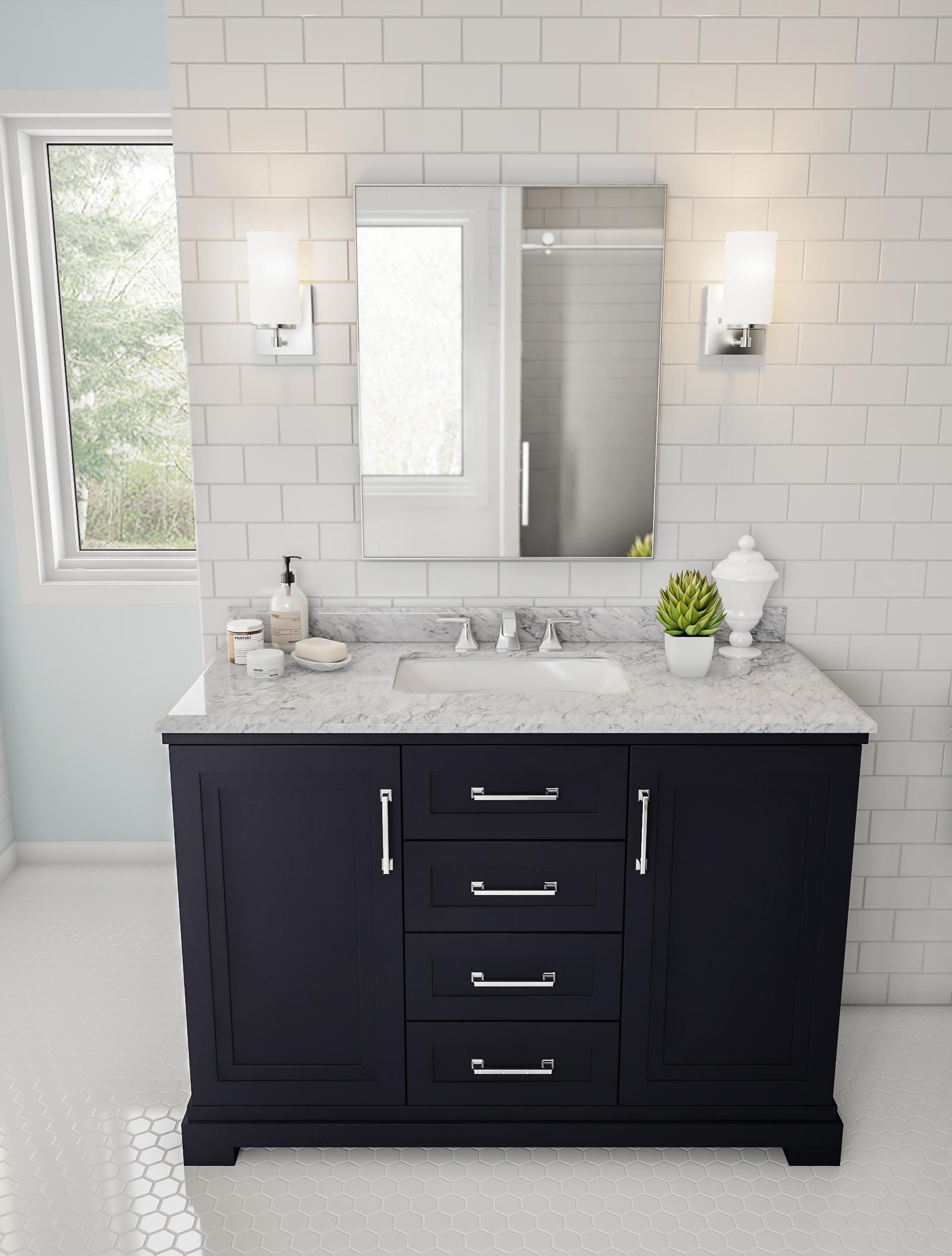 Preppy Navy Bathroom Vanity Farmhouse Bathroom Mirrors Bathroom Mirror Design Bathroom Mirror [ 2400 x 1820 Pixel ]