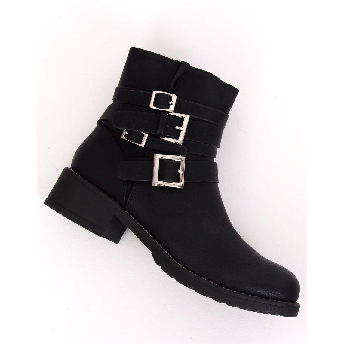 Botki Damskie Plaskie Czarne Z100 Black Boots Womens Black Flats Black Flat Boots