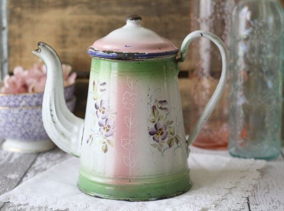 Antique French Enamelware Coffeepot  Hand painted by graceandivy