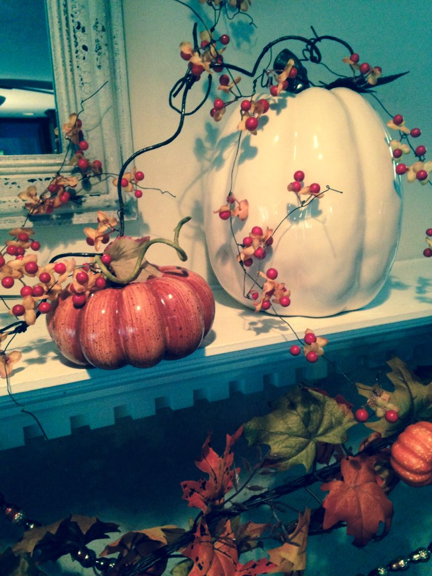Pretty pumpkins for fall mantles