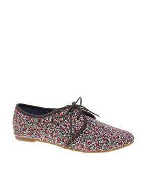 ASOS MAGPIE Lace Up Flat Shoes with Floral Print