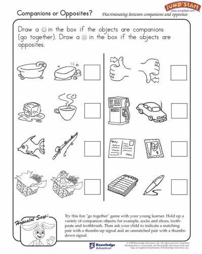 Opposites Worksheets For Kindergarten