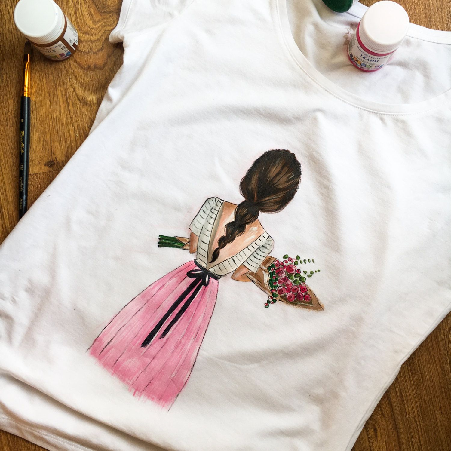 Design t shirt hand made - Hand Painted T Shirt Girl Fashion Illustration T Shirt Cotton T