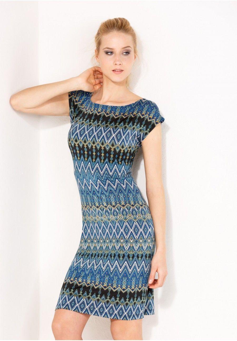 Dopasowana sukienka w geometryczny wzór Fashion, Mini