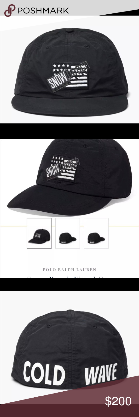 ca8e5cad96f Polo Ralph Lauren Snow Beach black and white cap Up for sale is a brand new