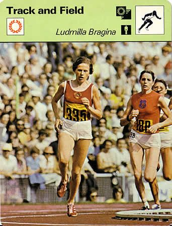 Lyudmila Bragina 1500m Gold Medalist At The Munich Olympics As Seem On Sportscaster Cards Track And Field Sports Stars Athlete