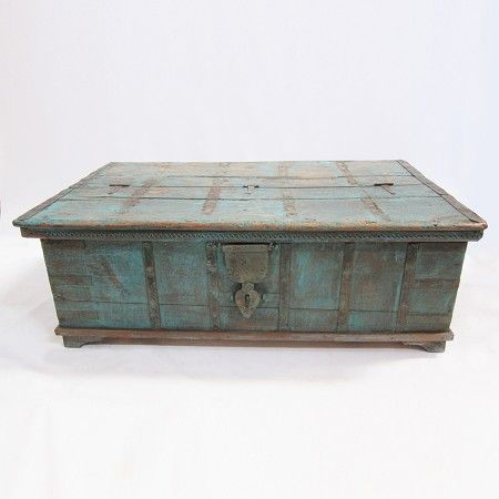 Vintage Jodhpur Painted Trunk Coffee Table Distressed Wood And Iron With Turquoise Paint