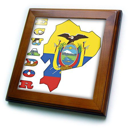 3dRose ft_51749_1 Ecuadorian Flag in The Map and Letters of EcuadorFramed Tile Artwork 8 by 8Inch *** You can find more details by visiting the image link.