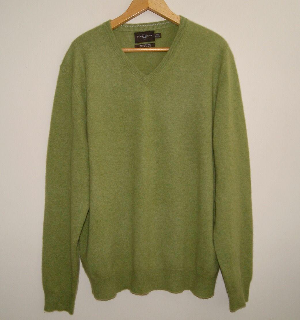 BLACK BROWN 1826 men's 100% cashmere sweater XL green https://t.co ...