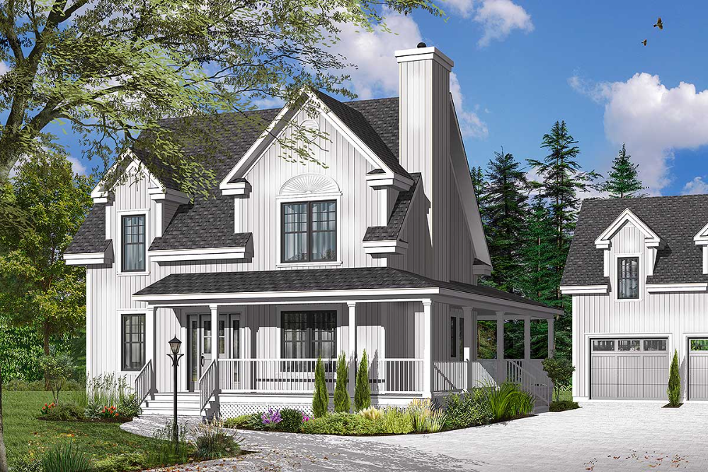 Plan 21951dr Delightful Wrap Around Porch In 2020 Country House Plans Porch Plans Country House Design