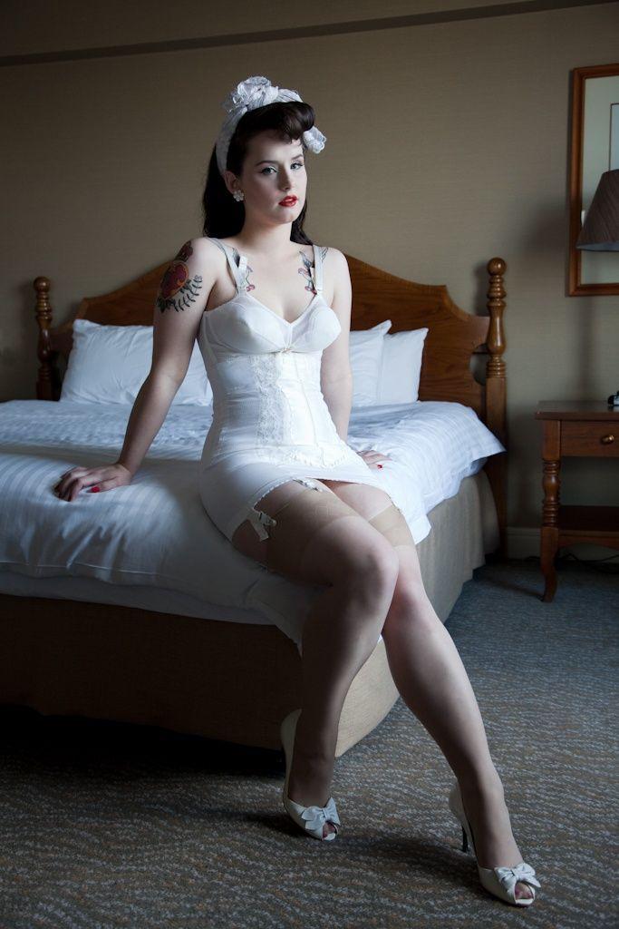 Vintage White Open Bottom Girdle and Bullet Bra | Girdles ...
