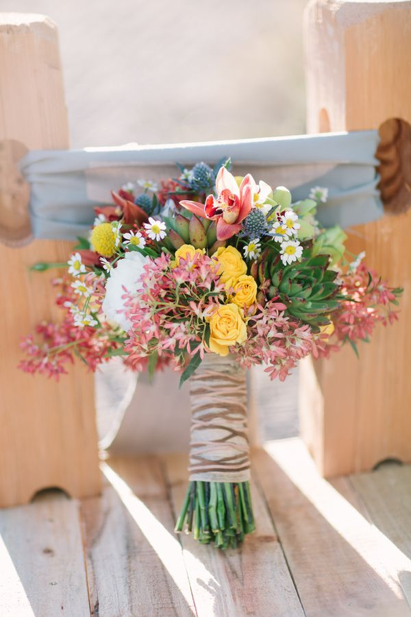 Wildflower Bouquet With Striped Brown Ribbon Wrap Shape Wildflower ...