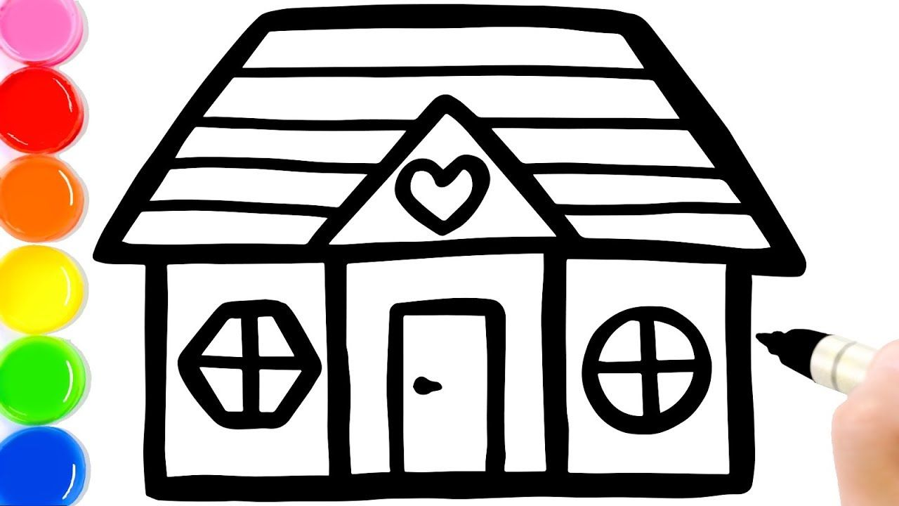 How To Draw A Cute House For Kids Simple House Coloring Page For