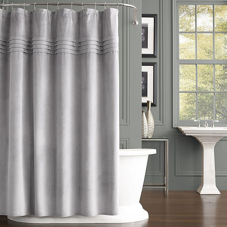 J Queen New York Estella Velvet Shower Curtain In Silver Luxury