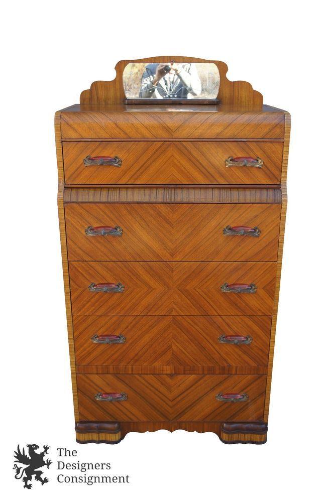 Early 20th century art deco waterfall tallboy dresser 5 drawer mirror bakelite
