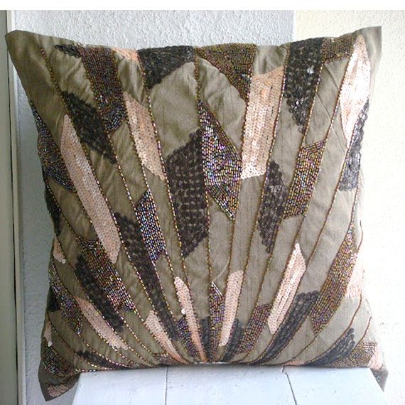 Brown Sequins /& Beaded 16X16 inch Silk Throw Pillows Cover Glamorous Streaks