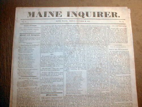 RARE Original 1825 Maine Inquirer Newspaper Bath Me.